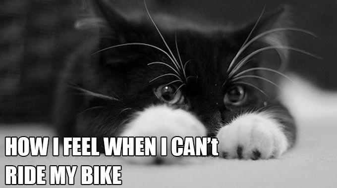How I feel when I can't ride my bike