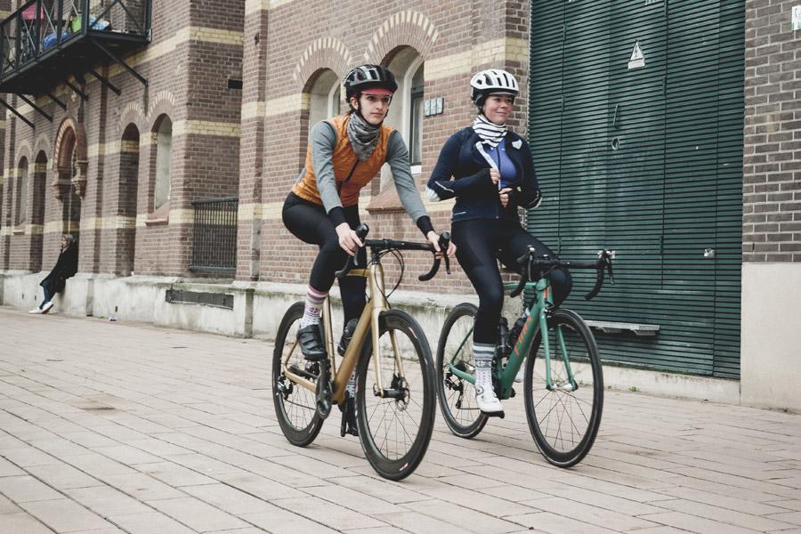 Two woman riding a bike